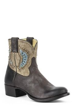 Stetson Ladies Betsy Shorty Fashion Boots w/Feather Inlay