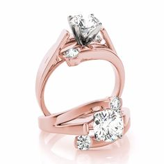 14 karat rose gold bypass swirl cathedral engagement ring with two round diamond carat each half bezel set. This ring accommodates all shapes and sizes and is accompanied by a mtching wedding band. Gold Diamond Wedding Band, Halo Diamond Engagement Ring, Engagement Rings, Pink Sapphire Ring, Marie, Shapes, Style, Gold Rings, Jewelry Model