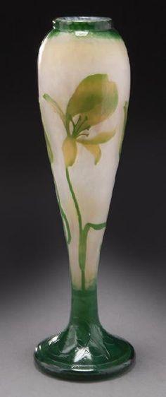 "Daum Nancy ""Iris"" martelé art glass vase"