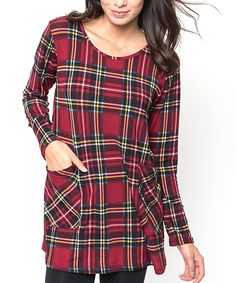 This Caralase Burgundy Plaid Tunic - Women by Caralase is perfect! #zulilyfinds