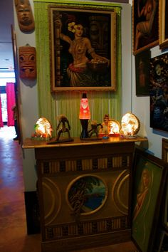 Tiki bar and paintings