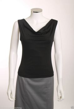 SELF ESTEEM ILLUSION PANEL BACK ASIAN CHARACTER IN BLUE  BLACK WOMENS TOP SZ S #SelfEsteem #KnitTop