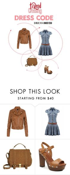 """""""Leather&Jeans"""" by trendcrossing on Polyvore featuring moda, New Look, JustFab, Indigo Road e Dressunder50"""