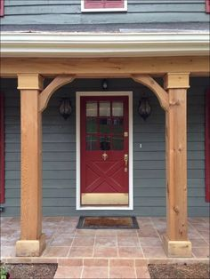 Welcome to our front porch ideas brick house gallery. Like your front door, your front porch is an important part of curb appeal. It is the first part of your home that your visitors will see, and should match the overall style of your home. Front Porch Posts, Front Porch Columns, Front Porch Planters, Small Front Porches, Front Porch Design, Front Entrances, Cedar Porch Posts, Front Doors, House Columns