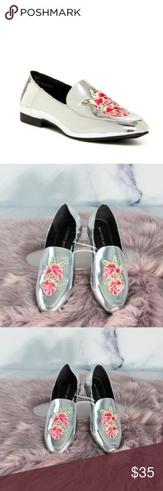 Madden Girl Orbitt Metallic embroidered Loafers 8 Orbitt Metallic Silver Embroidered Loafers with Roses •CONDITION: NWT •FLAWS: No pilling, stains, or rips. • If you like it, feel free to make me a reasonable offer -OR- bundle your likes for me and I'll send you an offer with an exclusive discount! Madden Girl Shoes Flats & Loafers