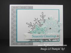 Stamps: Festive Flurry and Four the Holidays Paper: Whisper White – 5 1/2″ x 8 1/2″ (card base), 3 1/4″ x 4 1/4″ (top layer), and 1/2″ x 3 1/2″ (banner), plus extra for snowflakes, Bermuda Bay - 3 3/8″ x 4 3/8″, Winter Frost Specialty dsp – 2 1/4″ x 4″ Ink: Silver Encore pad (embossed with clear ep), Coastal Cabana and Bermuda Bay Tools and Accessories: Festive Flurry framelits, dimensionals, rhinestones