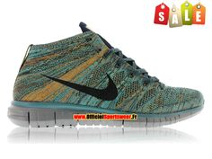 Nike Free Flyknit Chukka - Chaussures Nike Running Pour Homme Mineral Teel/Dark Obsidian-Hyper Jade-Copper 639700-301