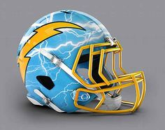 San Diego Chargers - NFL Concept Helmet by Paul Bunyan Design New Nfl Helmets, Cool Football Helmets, Football Helmet Design, New Helmet, Football Gear, Football Memes, Football Stuff, Nfl Gear, Football Players