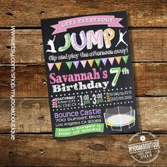 Trampoline Birthday Party invitation jump invite chalkboard bounce house pink green purple digital printable invitation 14106 by myooakboutique on Etsy