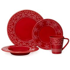 Marrying classic and contemporary style Mikasa Sutton Crimson dinnerware features rich dramatic color and  sc 1 st  Pinterest & Chris Madden® Corvella Dinnerware Set | Dishes of all kinds ...