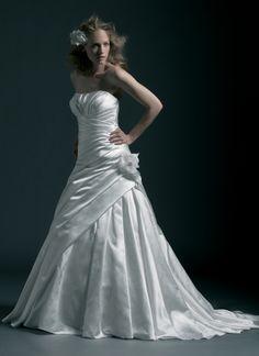 A-line Strapless Asymmetrically Pleated Bodice Flower Accent Satin Wedding Dress-wa0341, $249.95