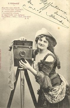 Postcard 1900's, Woman with Camera