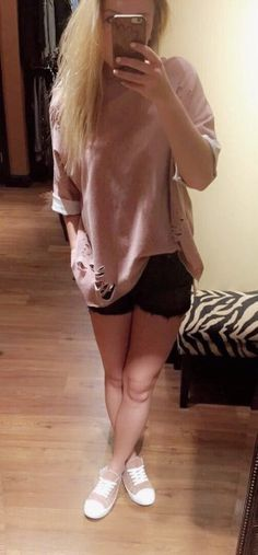 BEST DISTRESSED OVERSIZED TOP $39  #blush #pink #distressed #spring #springfashion #liketkit #apricotlane #apricotlanebismarck #musthave #womenfashion #womenstyle #fashion #style #trendy #newarrival #womens #outfitoftheday #ootd #favoritelook #black #blackshorts #Mauve #mauvesneakers #shorts #sneakers