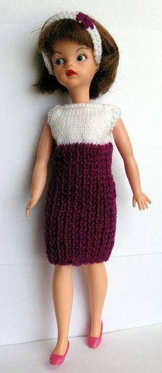 Purple & white Sindy DOLLS rib dress & headband fit Tammy Tressy Barbie Petra