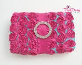 Hot Pink and Turquoise Baby Wipe Travel Case / Pencil Box