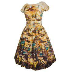 Vintage rockabilly 1950s cotton day dress with hawaiian print UK 10 £95