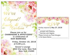 Elopement Party, Mini Champagne, Wedding Labels, Just Married, Rsvp, Party Invitations, Print Design, Marriage, This Or That Questions