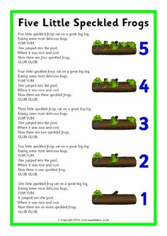 While singing song, have bowl of water and have students put frogs in as they sing! They love seeing the frogs splash! Five Little Speckled Frogs song sheet - SparkleBox Kindergarten Songs, Preschool Music, Number Songs Preschool, Preschool Spring Songs, Frog Crafts Preschool, Preschool Fingerplays, Daycare Crafts, Preschool Classroom, Preschool Circle Time Songs