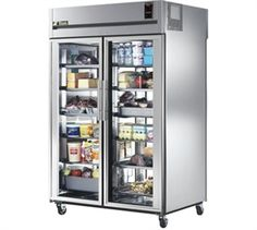 "Refrigerator, Pass-thru, two-section, (2) interior kits (specify), 300 series stainless steel exterior & interior, 37-5/8""D, (2) glass full doors front & rear, locks, exterior digital temp display, 4"" castors, 3/4 HP, 115v/60/1-ph, NEMA 5-20P, 15.5 amps,"