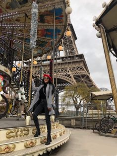Vintage Carousel in front of the Eiffel Tower Travel Pose, Fashion Poses, Tour Eiffel, Carousel, Paris France, Big Ben, Outfit Of The Day, My Photos, Winter Fashion