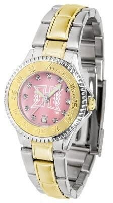 Hawaii Warriors Ladies Watch Mother-of-Pearl Two-Tone Watch by SunTime. $99.95. Women. Stainless Steel Band with Gold plated Inlay. Officially Licensed Hawaii Warriors Women's Two Tone Dress Watch. Links Make Watch Adjustable. Mother-Of-Pearl with Swarovski Crystal Indexes. Hawaii Warriors Ladies Watch Mother-of-Pearl Two-Tone Watch. This Warriors watch has a functional rotating bezel that is color-coordinated to compliment your favorite team logo. The Competitor Steel ut...
