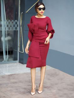 Every girl should own at least one classy event dress like this bow dress in burgundy from the Aura by Divalukky collection unveiled in Abuja. Classy Work Outfits, Classy Dress, Stylish Outfits, Fashion Outfits, Modesty Fashion, Short African Dresses, Latest African Fashion Dresses, African Print Fashion, Office Dresses For Women