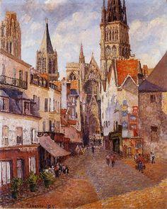 Sunlight, Afternoon, La Rue de l'Epicerie, Rouen, 1898,  by Camille Pissarro