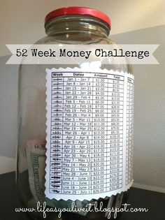 LIFE AS YOU LIVE IT: 52 WEEK MONEY SAVINGS CHALLENGE