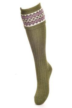 Campbell's of Beauly - Lady Fairisle Shooting Socks Moss Ladies Socks, Tweed, Lady, Women, Fashion, Moda, Fashion Styles, Fashion Illustrations, Woman