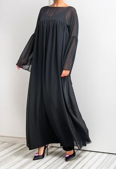 NEW SS16 BLACK MAXI DRESS, CHIFFON DRESS, ABAYA, CAFTAN