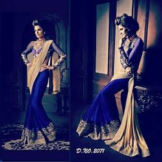 Purple georgette saree with beige satin pallu