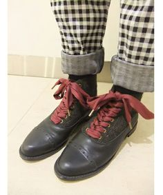 Gingham check pants with laced vintage cap toe ankle boots