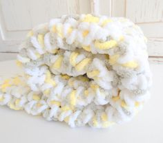 Plush chunky crocheted blanket  Yellow and by PeanutTreeDesigns