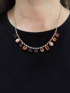 Irene Neuwirth Jewelry - Pink Tourmaline, Fire Opal, Pink Opal and Diamond Necklace Handcrafted in 18-karat rose and white gold. Detailed in pink tourmaline, fire opal, pink opal and full cut diamonds. Pink Tourmaline totals 15.52 carats. Fire Opal 6.8 carats. Full cut diamonds total 2.0 carats. Necklace measures 18-in. long. Finished with a safety clasp.