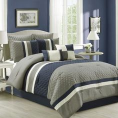 Patchwork 8-Piece Comforter Set in Navy/Grey
