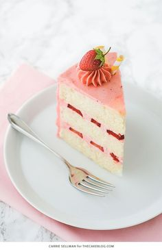 Strawberry Lemonade Cake - tender lemon cake paired with fresh strawberry buttercream Just Desserts, Delicious Desserts, Dessert Recipes, Strawberry Lemonade Cake, Strawberry Buttercream, Layer Cake Recipes, Birthday Desserts, Just Cakes, Cake Flavors