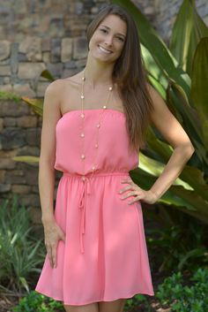 GIRL NEXT DOOR Pink Strapless Dress Shop Simply Me Boutique SMB – Simply Me Boutique