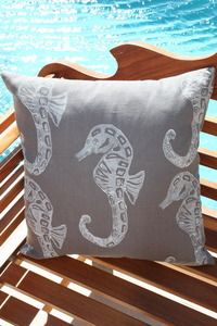 Stingray Gray Seahorses Beach Decor Pillow