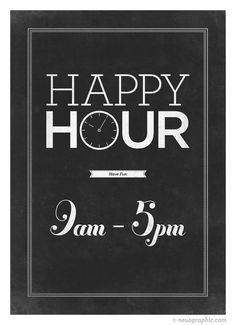 Retro-style typography poster - Happy Hour typo art - distressed black man cave wall decor