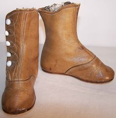 high button shoes 1860 | Victorian Tan High Button Baby Boots Fashion Shoes.