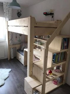 This kind of twin bunk beds is unquestionably an impressive style philosophy. - This kind of twin bunk beds is unquestionably an impressive style philosophy. Queen Loft Beds, Loft Bunk Beds, Kids Bunk Beds, Kids Beds Diy, Beds For Boys, Bed For Kids, Build A Loft Bed, Loft Bed Plans, Room Design Bedroom