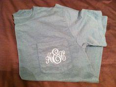 Monogram Pocket Tees , All colors available. $22.50, via Etsy.