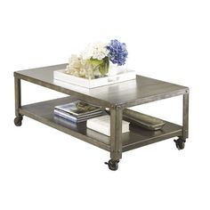 Bring on the industrial look with this chic metal coffee table. We are loving the clean lines, color, and mobility found in this metal coffee table - plus it even has a bonus shelf on the bottom!