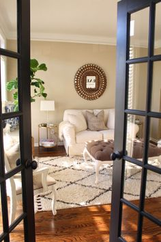 Target end tables LOVE gold spray paint. - MakeupByTiffanyD love the black doors. Very pretty room