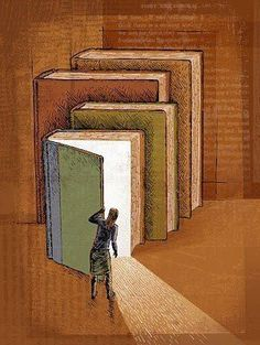 Love how this illustration says so much about reading. I Love Books, Great Books, Books To Read, My Books, Buch Design, World Of Books, Book Week, Book Nooks, Book Lovers