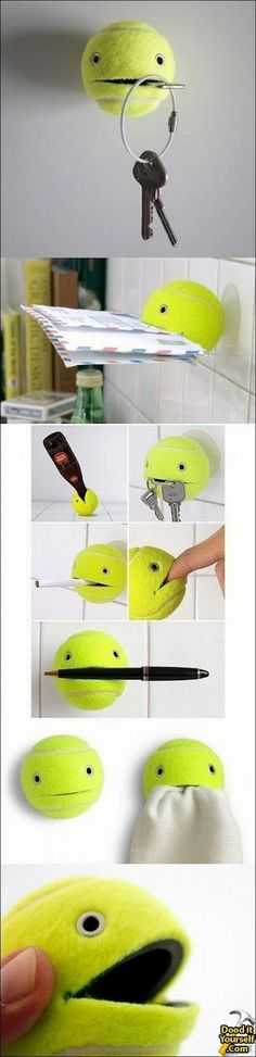 DIY Tennis Ball Holder! Very cute idea to hold many things.....Keys for sure! Always loosing those. :)