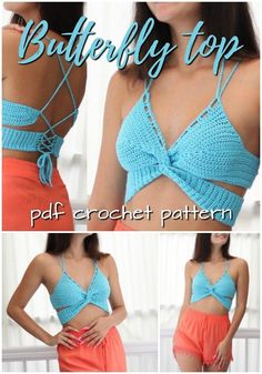 Super simple and sexy strappy butterfly top crochet pattern! Love this sexy summer beach top! So easy to make, Great pattern for beginners! Check out these 10 incredible crochet patterns, perfect to make this summer! Crochet Pattern Free, Crochet Patterns, Crochet Shorts Pattern, Crochet Summer Tops, Crochet Crop Top, Easy Crochet, Crochet Tops, Boutique Style, Bralette Pattern