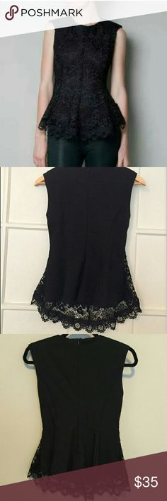 Flash sale!!!!NWOT Zara Black Guipure Lace Peplum NWOT Zara Woman Black Guipure Lace Peplum Top Size s. Dressy gorgeous top! Padded shoulders; lined. Never worn. zara Tops
