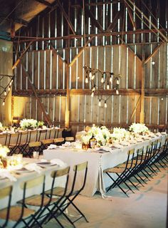 Rustic Elegance -- Look at the corner ties on the tables -- so unique! See the wedding on http://www.StyleMePretty.com/2014/01/15/rustic-elegance-at-dos-pueblos-ranch/ Jose Villa Photography