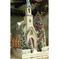 KD Vintage Christmas Country Church with beautiful bottle brush trees